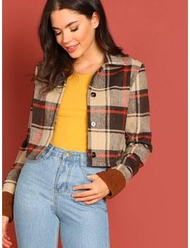 Button Up Plaid Crop Jacket by Shein