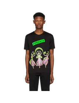 Black Dancing Statues T Shirt by Versace