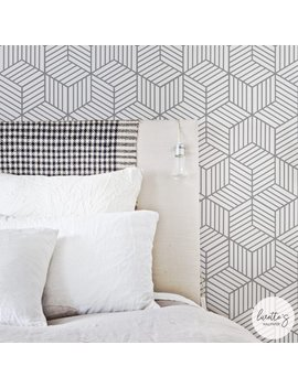 Removable Wallpaper / Cube Pattern Geometric Wallpaper / Traditional Or Self Adhesive Wallpaper by Etsy