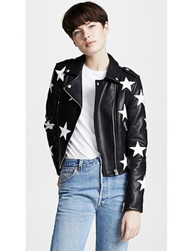 Star Print Vegan Moto Jacket by Blank Denim