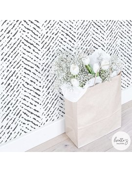 Herringbone Wallpaper / Removable Or Traditional / Watercolor Wallpaper / Self Adhesive Wallpaper by Etsy