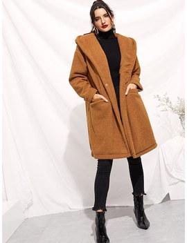 Drop Shoulder Pocket Front Teddy Coat by Shein