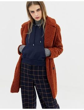 Pull&Bear Borg Teddy Coat In Rust by Pull&Bear