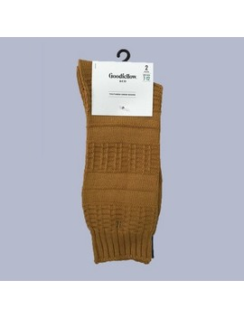 Men's 2pk Textured Crew Socks   Goodfellow & Co™ Gold 7 12 by Goodfellow & Co