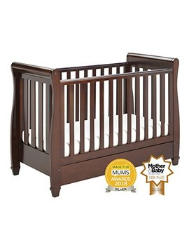 Babymore Eva Sleigh Cot Bed Dropside With Drawer (Dark Finish) + Foam Mattress by Babymore