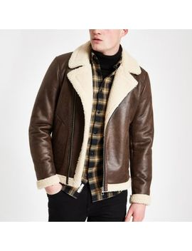 Only & Sons Brown Shearling Aviator Jacket by River Island