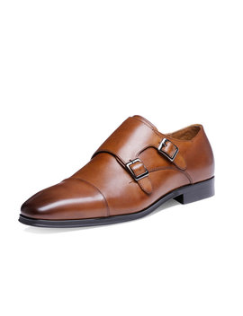 Men Classic Double Monk Strap Cap Toe Stylish Business Casual Dress Shoes by Newchic