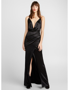 Black Satin Maxi Slip Dress by Icône