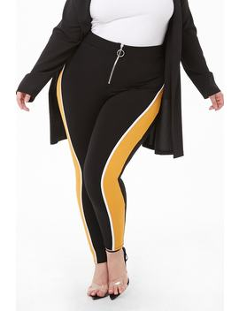Plus Size Colorblock Zip Leggings by Forever 21