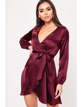Katie Wine Ruffle Wrap Mini Dress by Misspap