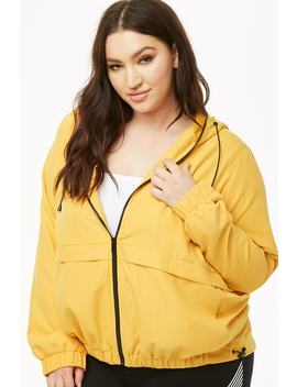 Plus Size Hooded Zip Front Jacket by Forever 21