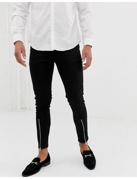 Asos Design Skinny Jean With Zipped Hem Detail In Black by Asos Design