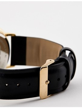 Asos Design Watch In Black Faux Leather With Gold Highlights by Asos Design