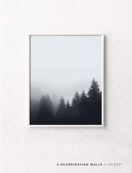 Forest Fog Print, Fog And Forest, Mist Forest, Forest Prints,Forest Minimalist Wall Art, Nordic Nature, Foggy Forest, Forest Landscape Print by Etsy