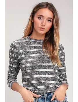 Capshaw Washed Black And White Striped Marled Sweater Top by Lulus