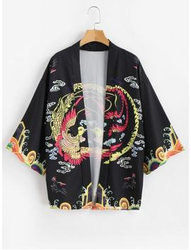 Phoenix Print Kimono Cardigan   Black Xl by Zaful