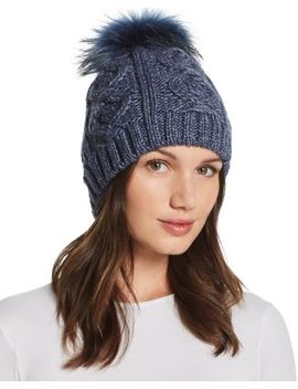 Fur Pom Pom Cable Knit Beanie   100% Exclusive by Echo