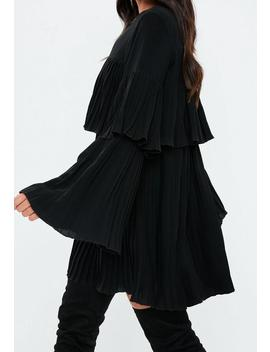 Black Pleated Layered Smock Dress by Missguided
