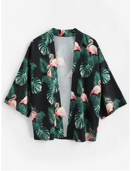 Flamingo Open Kimono Cardigan   Black 2xl by Zaful