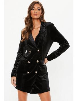 Tall Black Velvet Blazer Dress by Missguided