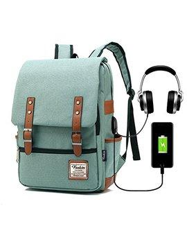 Vintage Laptop Backpack Women Men, School College Backpack Usb Charging Port & Headphone Jack, Fashion Backpack Fits 15.6 Inch Notebook   Green Function Update by Feskin