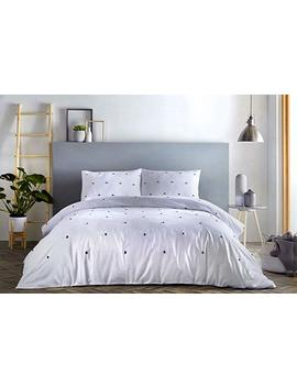 Signature   Chester   100 Percents Cotton Duvet Cover Set | King Size | White Bedding With Grey Tufts by Signature