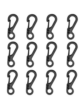 12pcs/Lot Black Mini Sf Carabiners Spring Backpack Clasps Edc Keychain Carabiner For Climbing Camping Bottle Hooks Paracord Tactical Survival Gear By Ontrip® by Ontrip