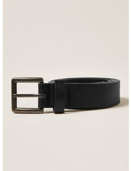 Skinny Faux Leather Belt With Brushed Silver Buckle In Black by Topman