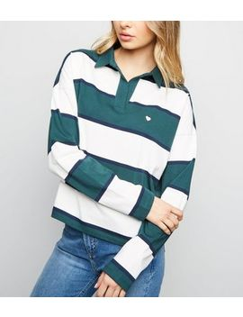 Green Stripe Heart Logo Rugby Top by New Look