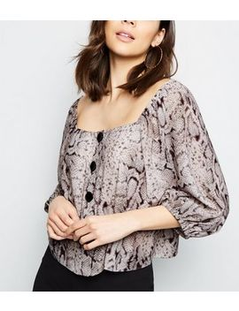 Grey Snake Print Square Neck Blouse by New Look