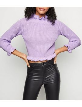 Cameo Rose Lilac Frill Trim Cropped Jumper by New Look