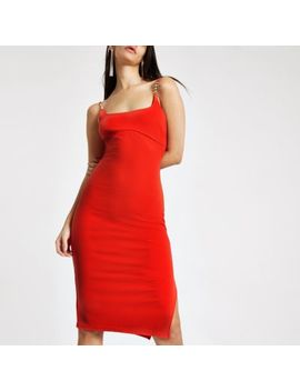 Red Ribbed Diamante Trim Midi Dress by River Island