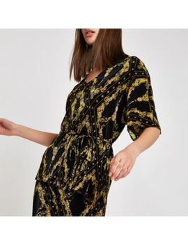 Black Plisse Chain Print Tie Waist Kimono Top by River Island