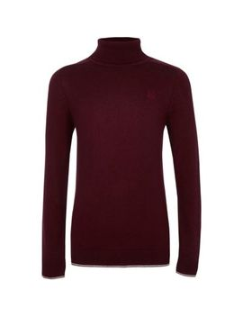 Boys Dark Red Ri Roll Neck Tipped Jumper by River Island