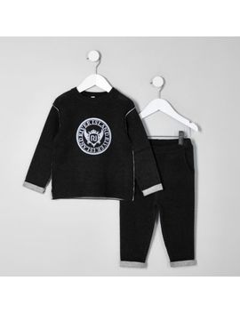 Mini Boys Black Knit Ri Sweat Set by River Island
