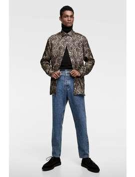 Snakeskin Print Satin Shirt  Printed Shirts Man by Zara