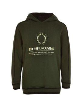 Boys Khaki 'nouveau' Foil Logo Hoodie by River Island