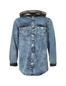 Boys Blue Hooded Denim Shirt by River Island