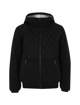 Boys Black Quilted Hooded Jacket by River Island