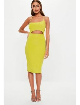 Lime Green Slinky Scoop Cut Out Midi Dress by Missguided