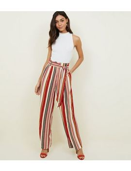 Blue Vanilla Red Stripe Paperbag Waist Trousers by New Look