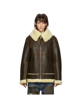 Brown Shearling New Velocite Jacket by Acne Studios
