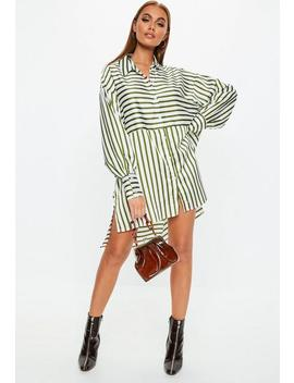 Khaki Stripe Drop Back Oversized Shirt Dress by Missguided