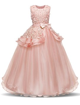 Nnjxd Girl Sleeveless Embroidery Princess Pageant Dresses Kids Prom Ball Gown by Nnjxd
