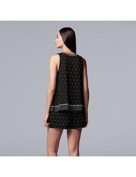 Women's Simply Vera Vera Wang Polka Dot Tank & Boxer Shorts Pajama Set by Kohl's