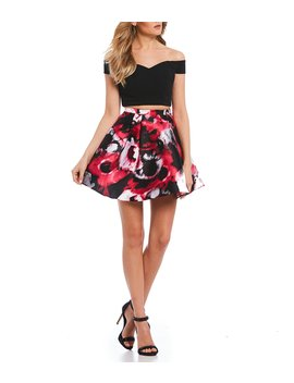 Off The Shoulder Top With Floral Skirt Two Piece Dress by B. Darlin