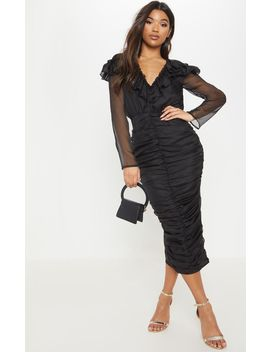 Black Chiffon Ruched Detail Midi Dress by Prettylittlething