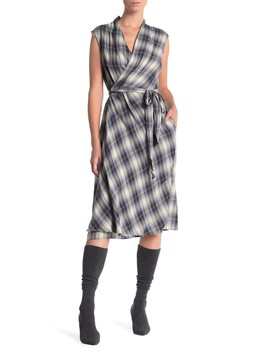 Shadow Plaid Wrap Dress by Vince