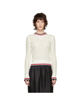 White Open Stitch Knit Sweater by Thom Browne
