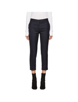 Navy Wool Low Rise Skinny Trousers by Thom Browne